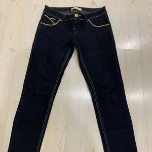 Topshop navy jeans with gold piping